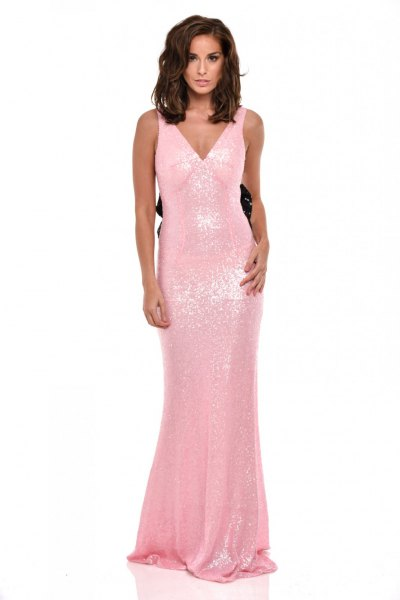 flowing fishtail dress with pink sequins