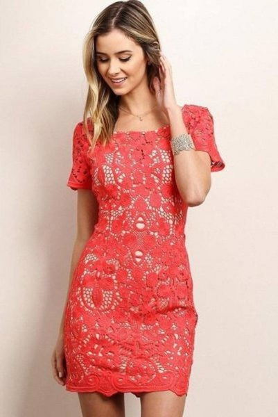 pink short-sleeved lace shift dress