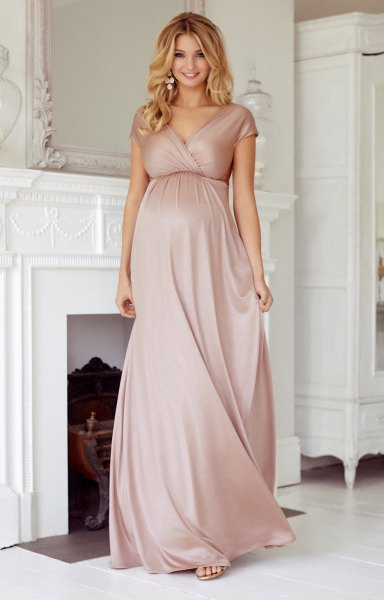 pink short-sleeved maxi wrap dress for pregnant women