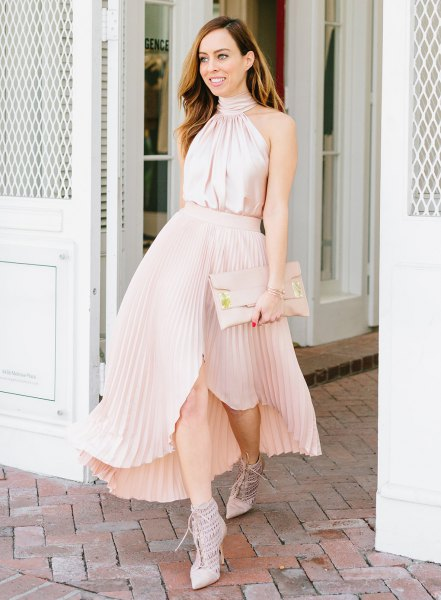 Top made of pink silk halter with asymmetrical, blushing maxi pleated skirt