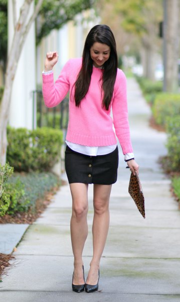 pink sweater with white shirt and black mini skirt