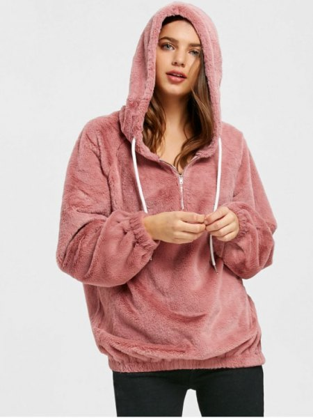 pink teddy hoodie with half zip and black skinny jeans