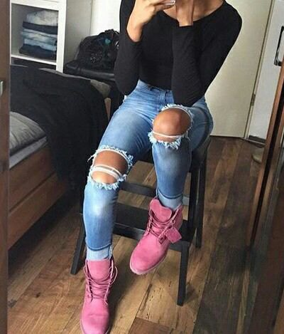 pink Timberland boots black bodycon t-shirt