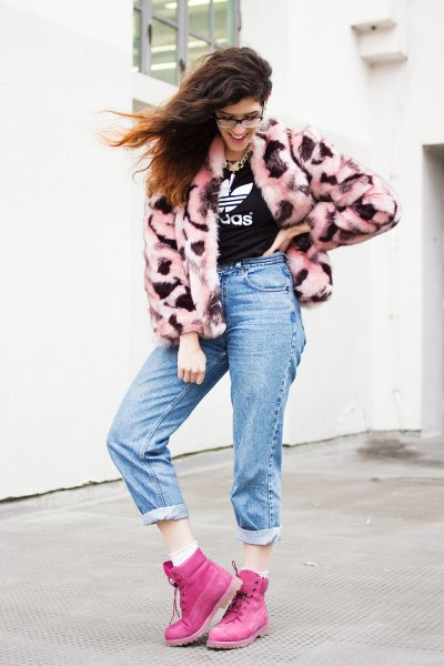 pink Timberland boots pink faux fur coat