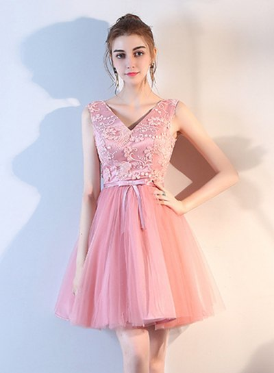 pink two-tone lace with a V-neckline and a chiffon mini-cocktail dress
