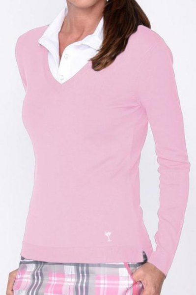 pink figure-hugging V-neck sweater and white collar shirt