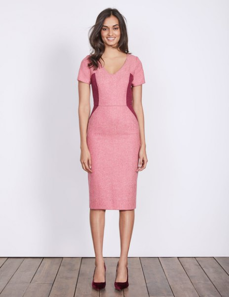 pink wool midi dress with V-neck