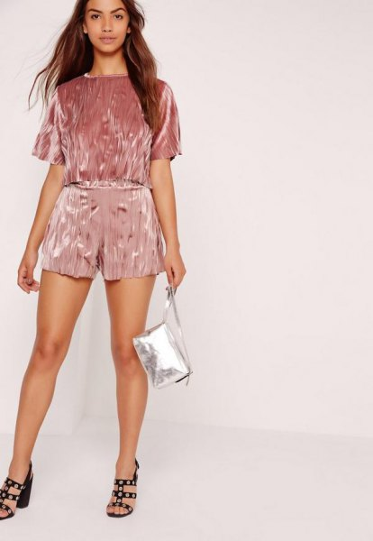 pink velvet shorts to match the short-sleeved top