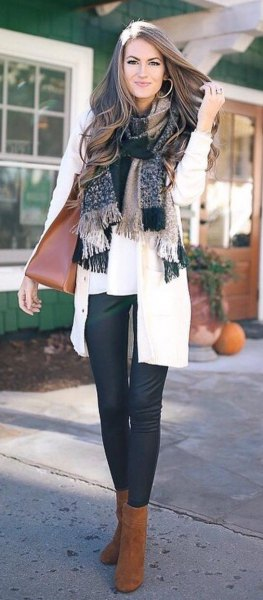checked fringed scarf with white blouse and cardigan