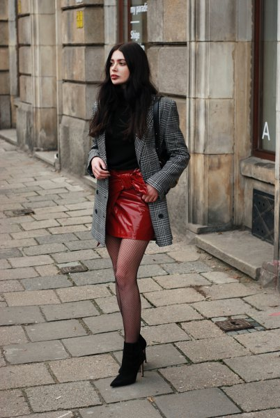 Checkered oversize suit jacket and red leather skirt