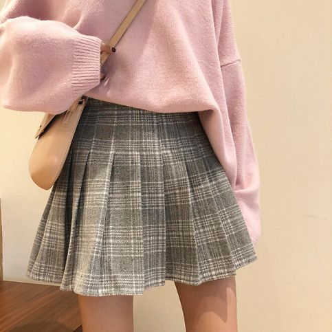 Woolen Plaid Pleated Skirt | Cute skirt outfits, Pleated skirt .