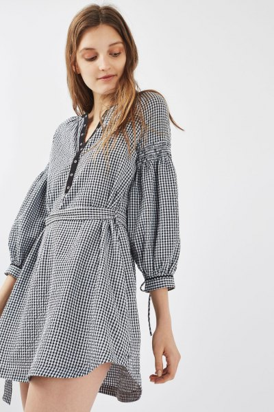 checked mini dress with puff sleeves and belt