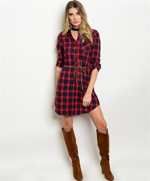 checkered shirt dress black choker