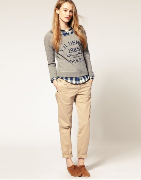 gray pullover chinos with a checked shirt