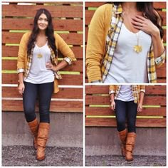 plaid shirt with mustard-yellow cardigan and brown knee-high boots