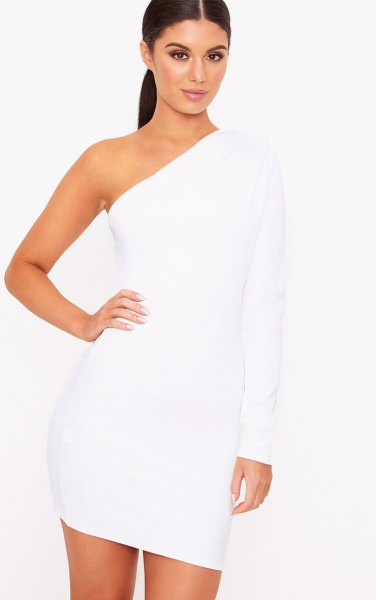 simple, strapless, long-sleeved, figure-hugging mini dress