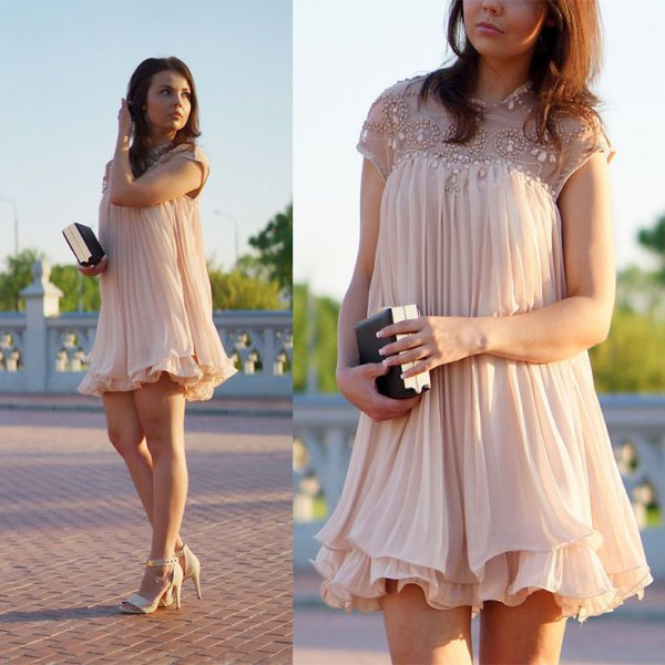 Pleated baby doll skirt faux pearls