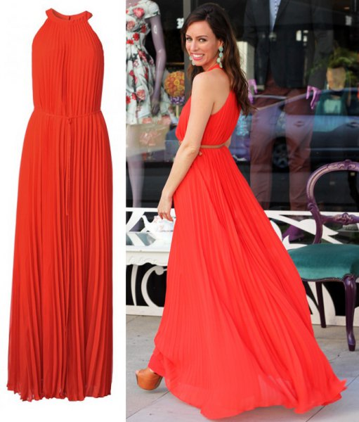 Pleated, gathered waist, flared maxi dress