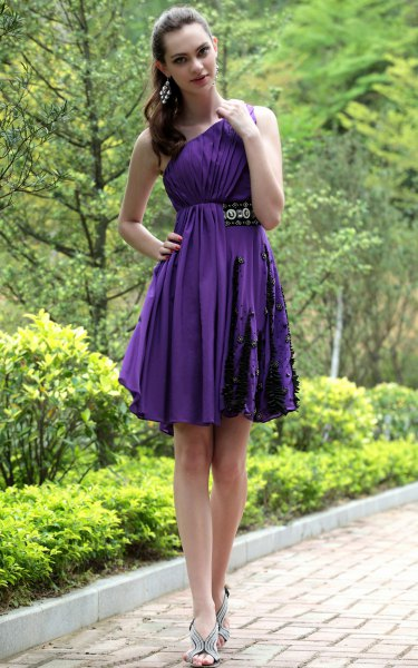 pleated mini fit and flare cocktail dress with one shoulder