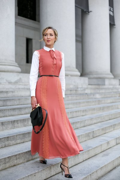 Pleated sleeveless lace maxi peach dress with white collar shirt