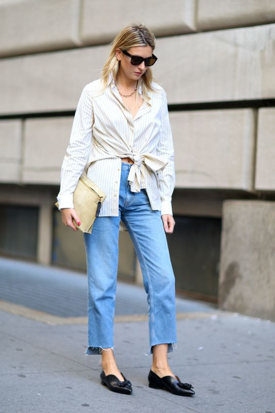 pointed shoes knotted shirt