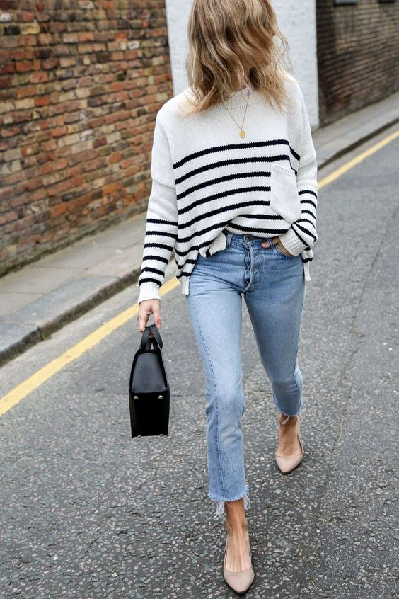 pointy toe shoes striped sweater