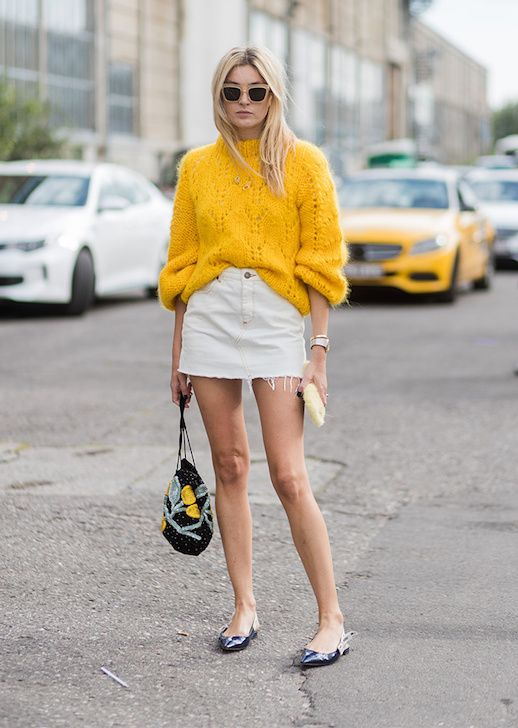 pointy toe shoes yellow sweater