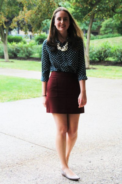 Polka dot burgundy mini pencil skirt