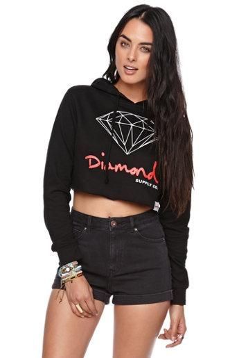 Printed short denim shorts with a shortened hoodie