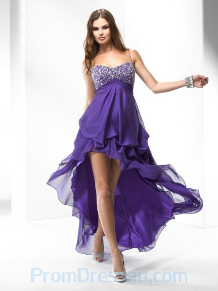 purple and silver sequin spaghetti straps high low long flared dress