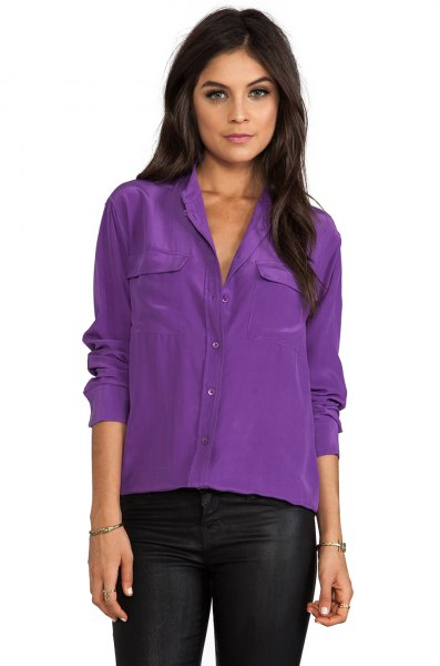 purple blouse with black leather pants