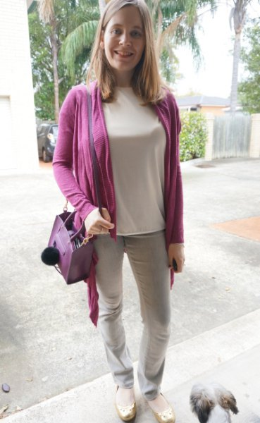 purple cardigan with light pink long-sleeved t-shirt