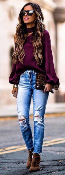 purple chiffon top with choker neckline and ripped skinny jeans