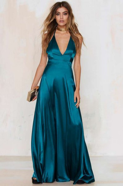 purple deep V-neck fit and flared maxi dress with silver collar