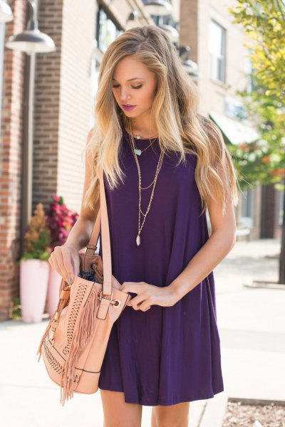 purple halterneck mini shift summer dress