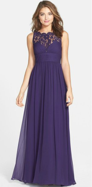 purple maxi dress with lace collar