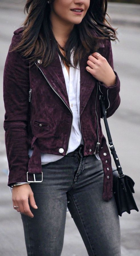 40 Express Outfit Ideas To Copy   Purple leather jacket, Express .