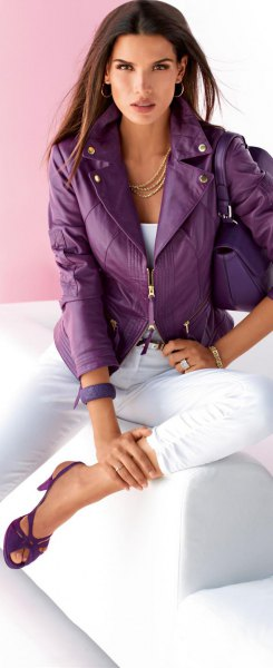 purple leather jacket white top jeans