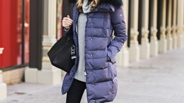 purple long bubble coat with gray sweater with waterfall neckline
