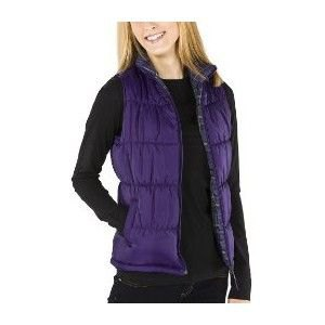 purple quilted vest with black long-sleeved top and jeans