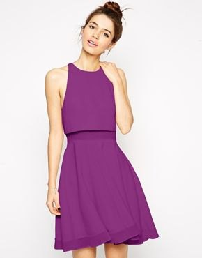 purple sleeveless rolled waist chiffon mini summer dress