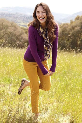 Purple slim fit sweater with mustard trousers and leopard print