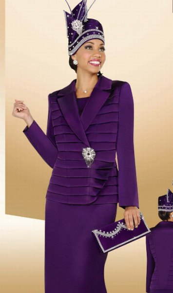 purple suit jacket with midi skirt and clutch