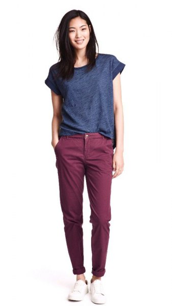 purple t-shirt gray chinos outfit