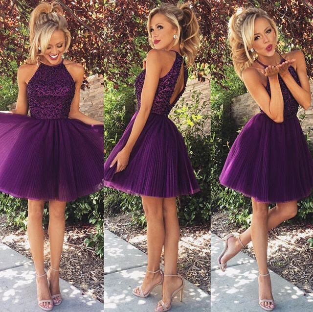 purple two-tone open back fit and flare mini cocktail dress