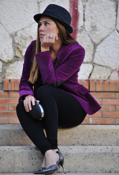 purple velvet blazer with a completely black outfit