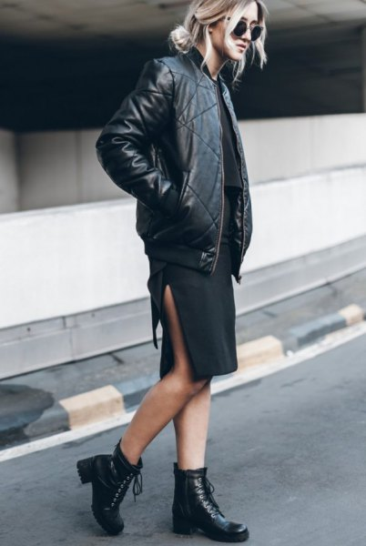 Quilted black leather aviator jacket with a knee-length sheath dress