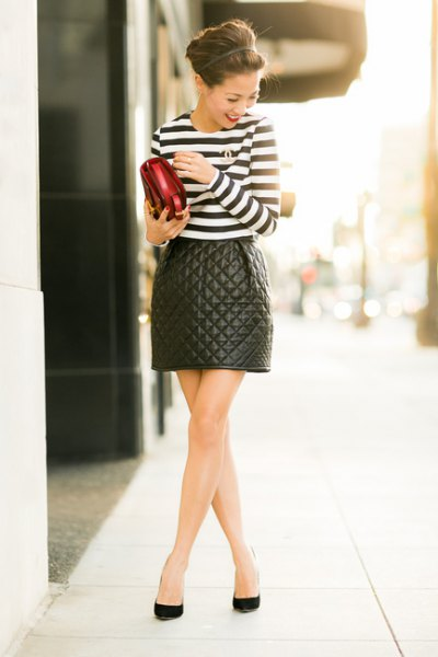 quilted skater skirt black and white striped t-shirt