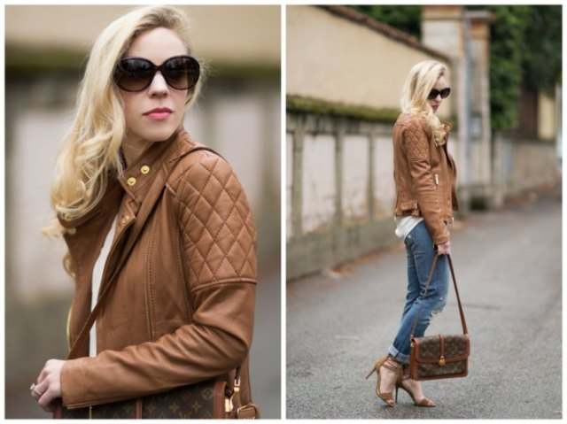 Quilted tank leather jacket with white T-shirt and jeans with cuffs