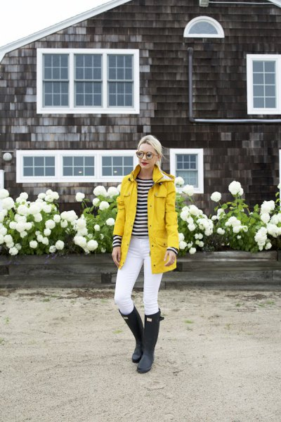 Rain jacket with black and white striped long-sleeved T-shirt
